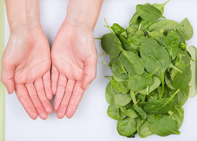 Portie groente in hand