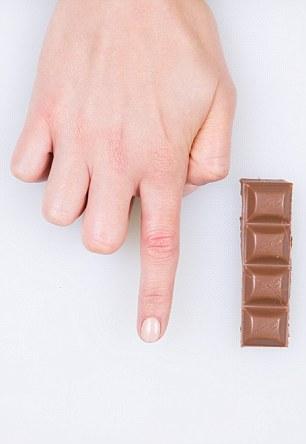 chocolade portie hand
