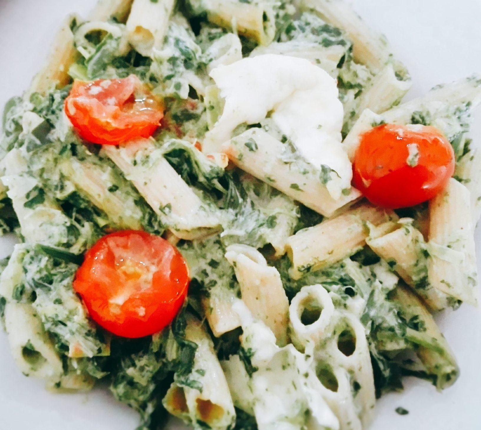 pastaovenschotel met spinazie